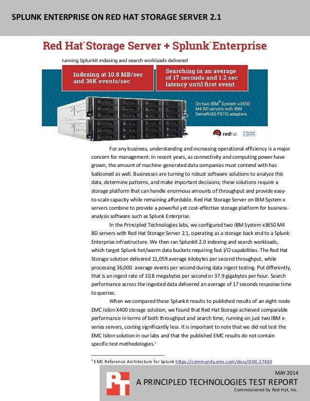 Splunk Enterprise on Red Hat Storage Server 2.1