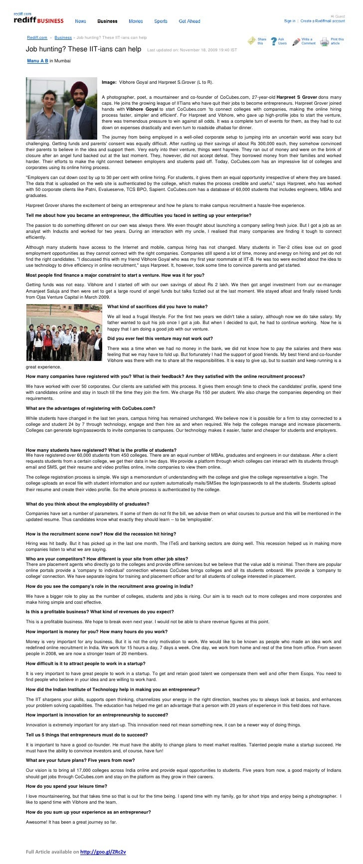 Rediff.com » Business » Job hunting? These IIT-ians can helpJob hunting? These IIT-ians can help                          ...