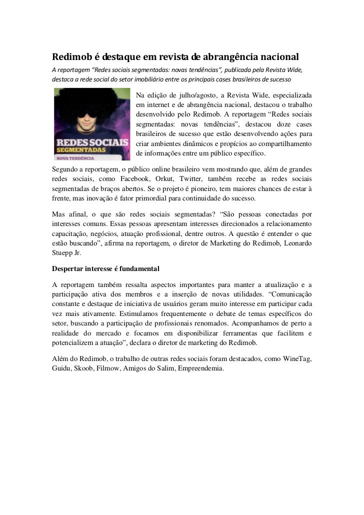 """Redimob é destaque em revista de abrangência nacionalA reportagem """"Redes sociais segmentadas: novas tendências"""", publicada..."""