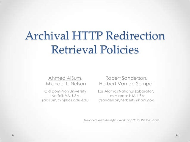 Archival HTTP Redirection Retrieval Policies - TemporalWeb 2013