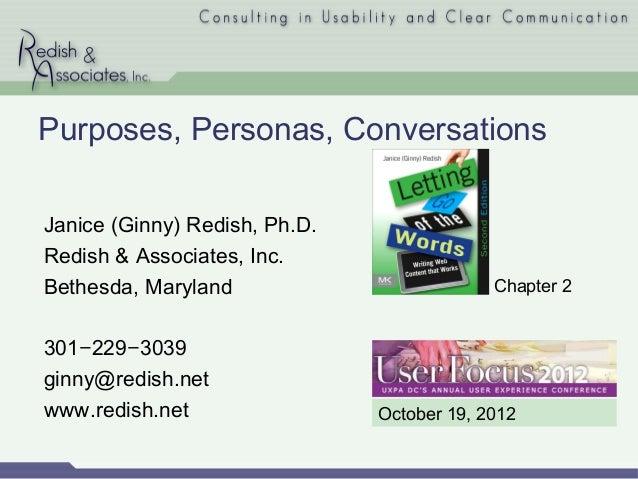 Purposes, Personas, Conversations (Ginny Redish)