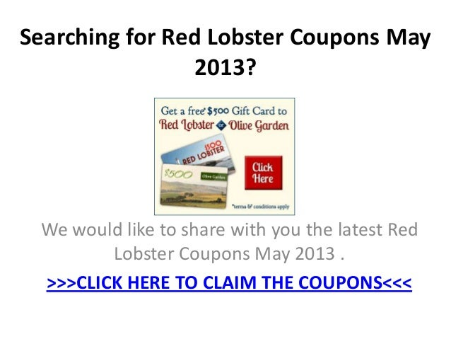 Red lobster coupons may 2019