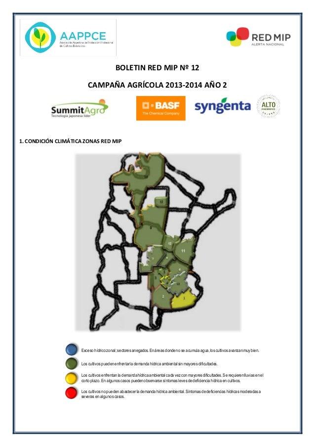 BOLETIN RED MIP Nº 12 CAMPAÑA AGRÍCOLA 2013-2014 AÑO 2  1. CONDICIÓN CLIMÁTICA ZONAS RED MIP  Exceso hídrico zonal; sector...