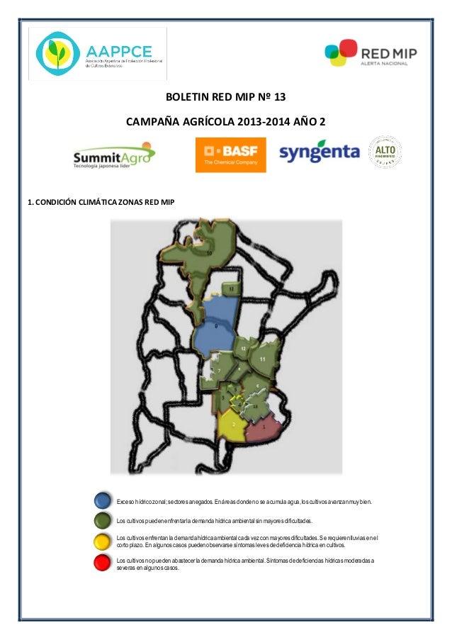 BOLETIN RED MIP Nº 13 CAMPAÑA AGRÍCOLA 2013-2014 AÑO 2 1. CONDICIÓN CLIMÁTICA ZONAS RED MIP Exceso hídrico zonal; sectores...