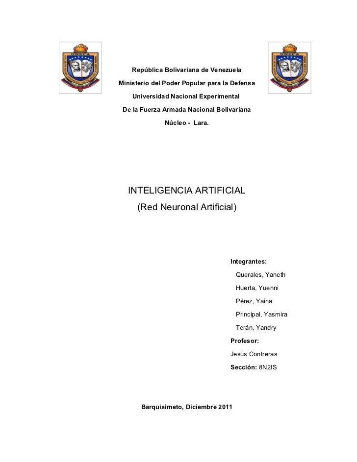 República Bolivariana de VenezuelaMinisterio del Poder Popular para la Defensa    Universidad Nacional Experimental De la ...