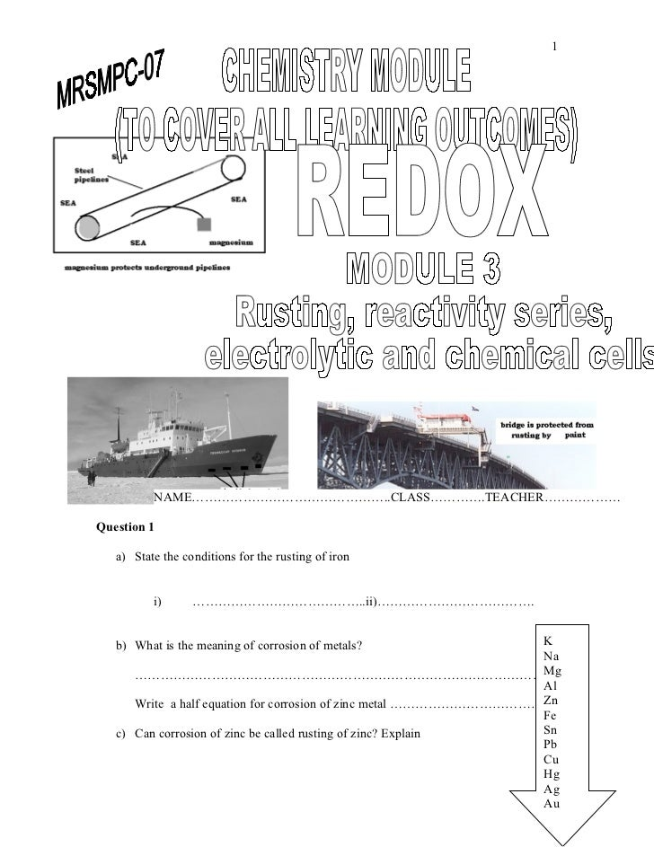 1          NAME………………………………………..CLASS………….TEACHER………………Question 1   a) State the conditions for the rusting of iron       ...