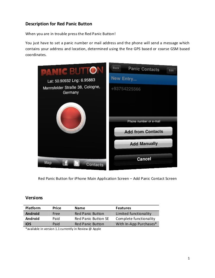 Red Panic Button User Guide