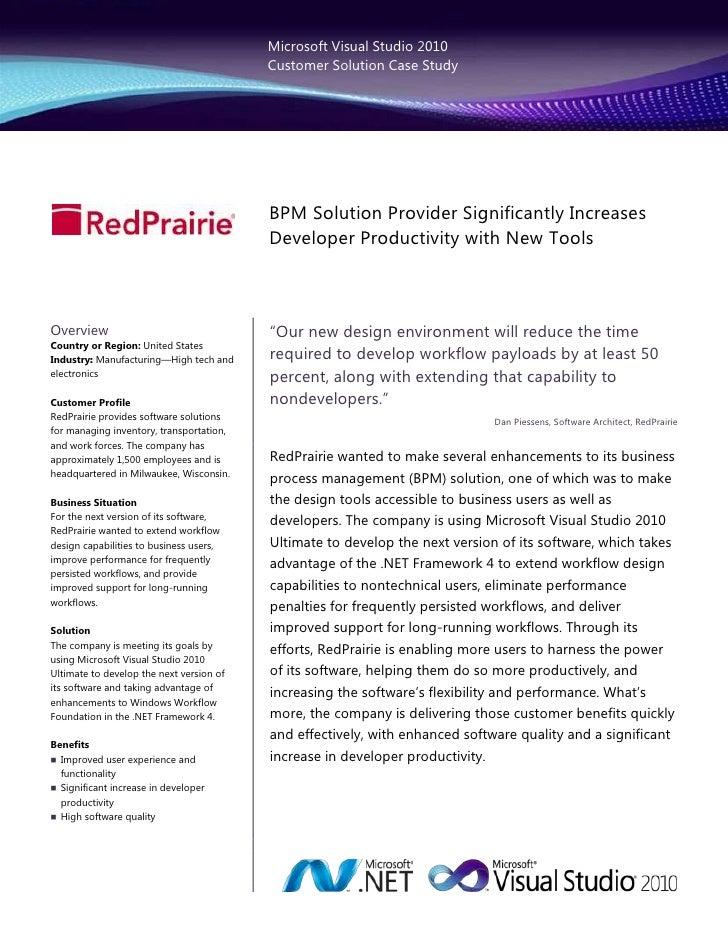 Microsoft Visual Studio 2010                                          Customer Solution Case Study                        ...