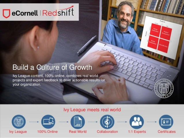 Ivy League Meets Real worldGrowth Build a Culture of Ivy League content, 100% online, combines real world projects and exp...