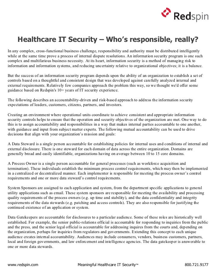 Healthcare IT Security - Who's responsible, really?