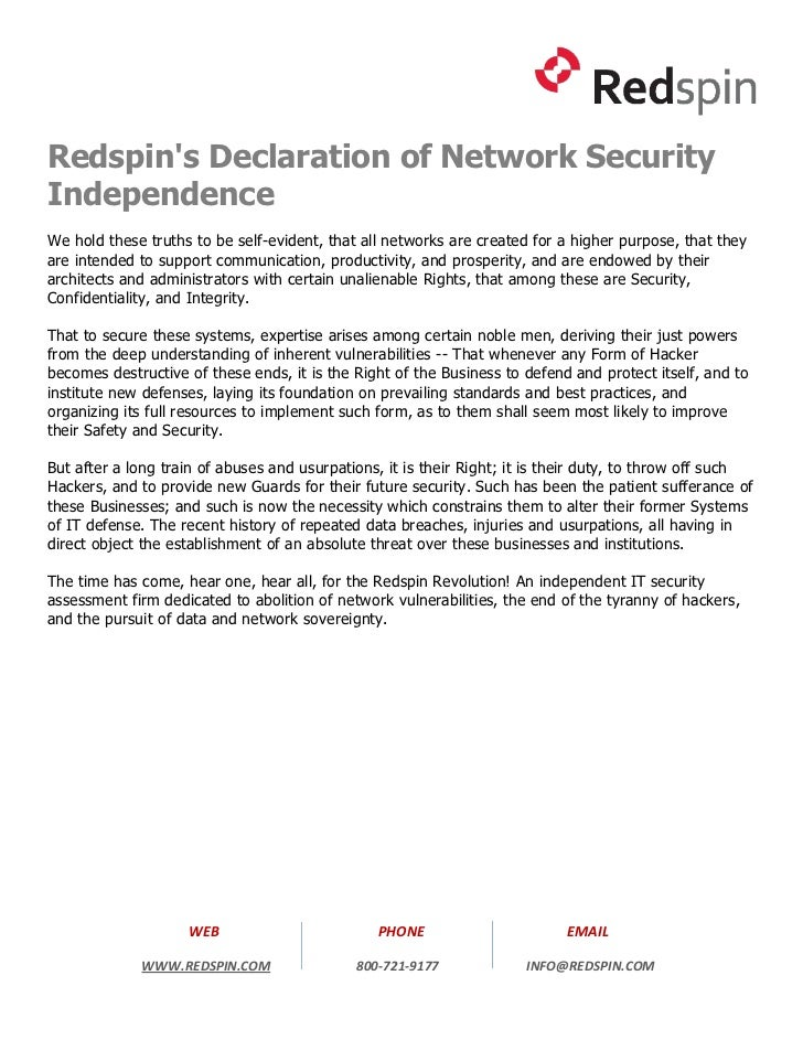Redspin's Declaration of Network Security Independence