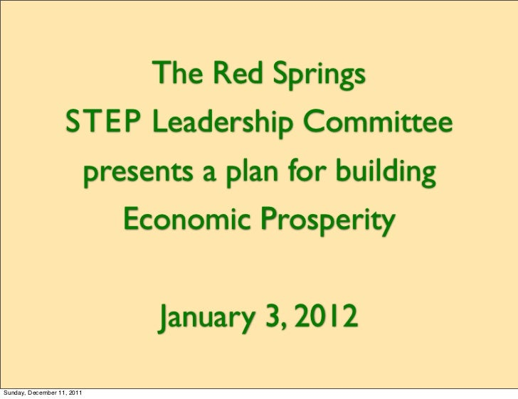 The Red Springs                   STEP Leadership Committee                            presents a plan for building       ...
