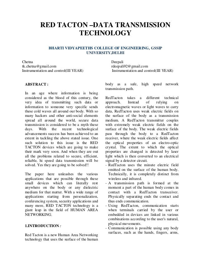 RED TACTON –DATA TRANSMISSION                   TECHNOLOGY               BHARTI VIDYAPEETHS COLLEGE OF ENGINEERING, GSSIP ...