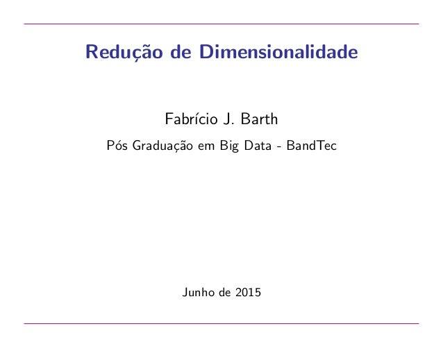 Redu¸c˜ao de Dimensionalidade Fabr´ıcio J. Barth P´os Gradua¸c˜ao em Big Data - BandTec Junho de 2015