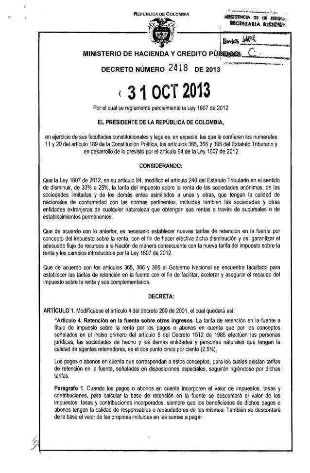 REPÚBLICA DE COLOMBIA  ~ 11$ ~II ,~c.  nClllIARIA IUIIIfe.~  MINISTERIO DE HACIENDA Y CREDITO DECRETO NÚMERO  2418  PÚJ:.~...