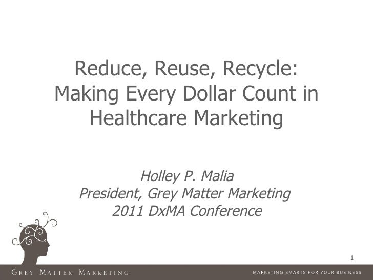 Reduce, Reuse, Recycle:Making Every Dollar Count in   Healthcare Marketing           Holley P. Malia  President, Grey Matt...