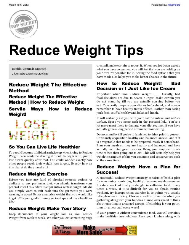 Reduce Weight The Effective Method, How to Reduce Weight