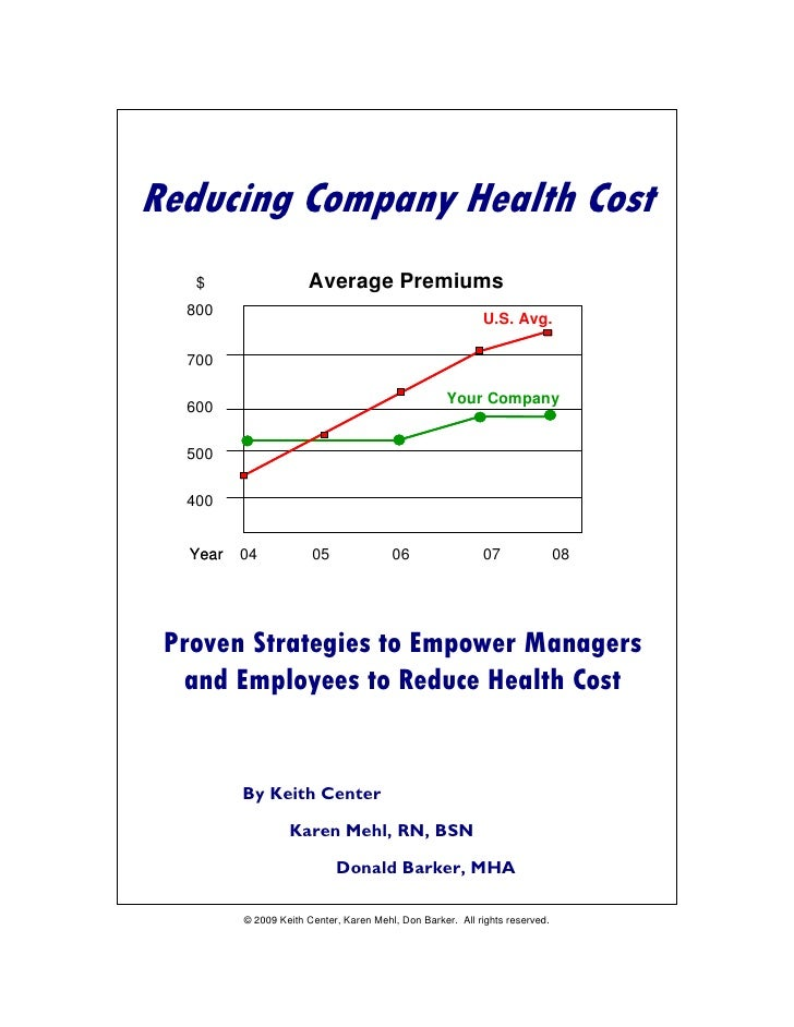 Reducing Company Health Cost – Draft 2     Reducing Company Health Cost    $                     Average Premiums   800   ...