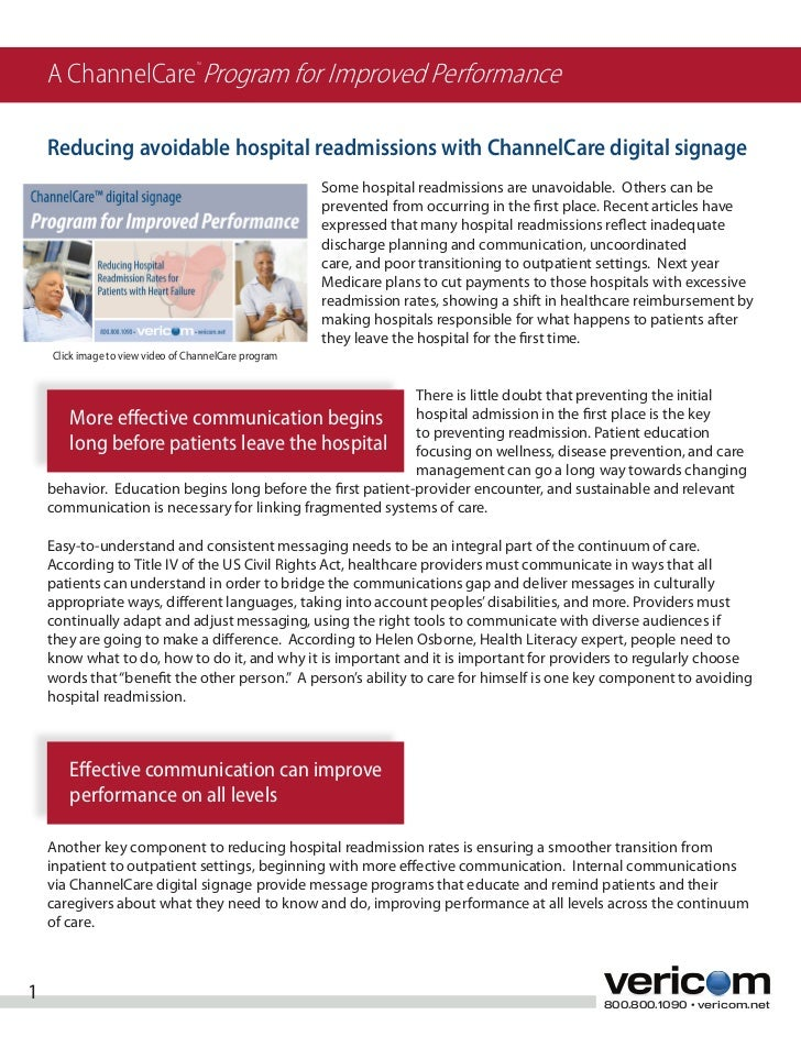 A ChannelCare Program for Improved Performance                                  TM    Reducing avoidable hospital readmiss...