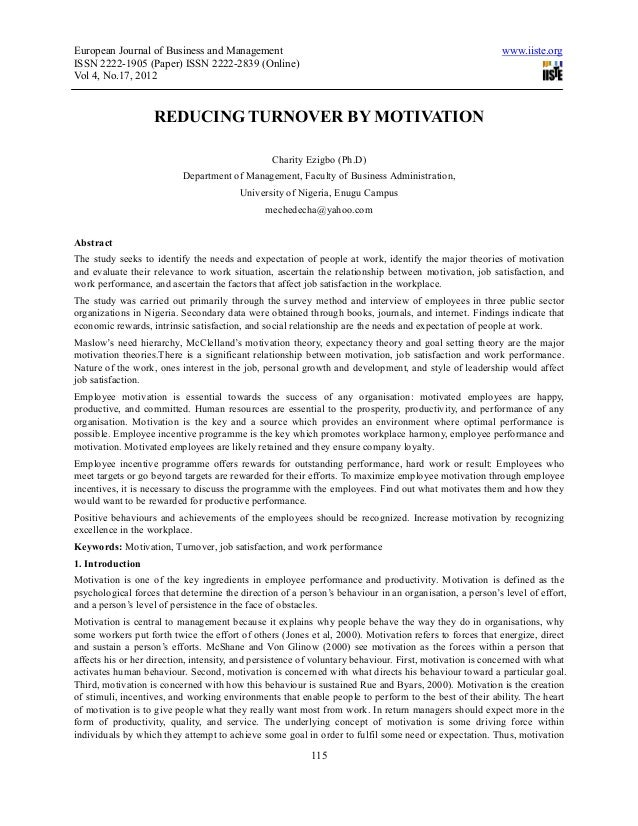 Reducing turnover by motivation