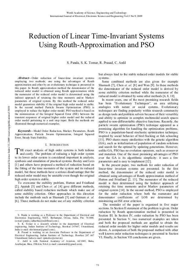 Reduction of-linear-time-invariant-systems-using-routh-approximation-and-pso