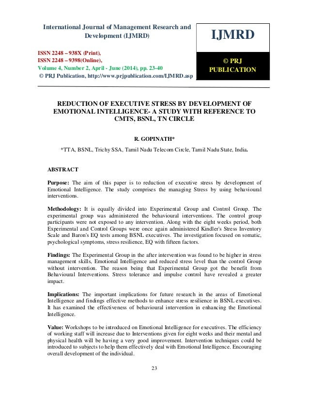 Reduction of executive stress by development of emotional intelligence  a study with reference to cmts, bsnl, tn circle