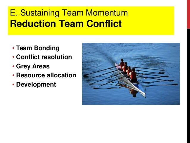 E. Sustaining Team Momentum Reduction Team Conflict • Team Bonding • Conflict resolution • Grey Areas • Resource allocatio...