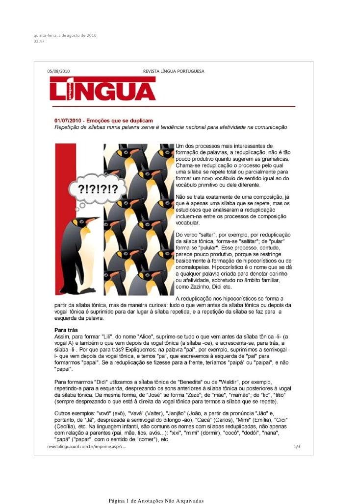 quinta-feira, 5 de agosto de 2010 02:47                                         Página 1 de Anotações Não Arquivadas