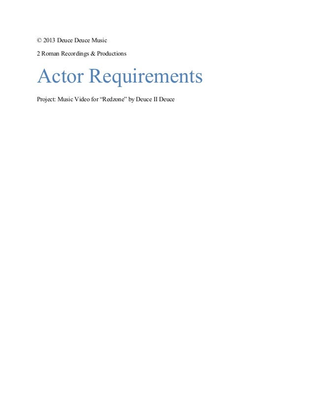 Redzone actor requirements copy