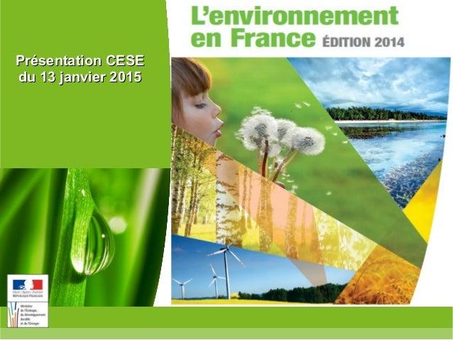 Ministère de l'Écologie, du Développement durable, et de l'Énergie www.developpement-durable.gouv.fr Présentation CESEPrés...