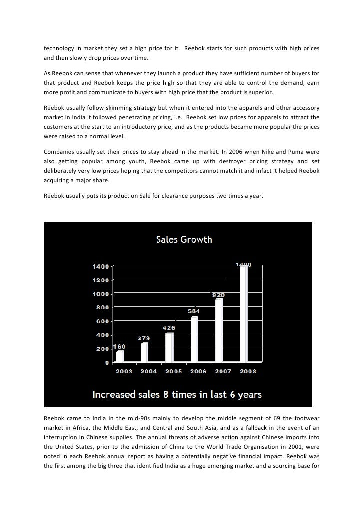 reebok case This case study describes how adidas, one of the biggest companies in the sporting goods industry, managed the process of acquiring reebok and how it deals.
