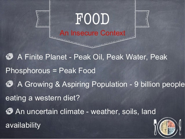 FOODAn Insecure ContextA Finite Planet - Peak Oil, Peak Water, PeakPhosphorous = Peak FoodA Growing & Aspiring Population ...