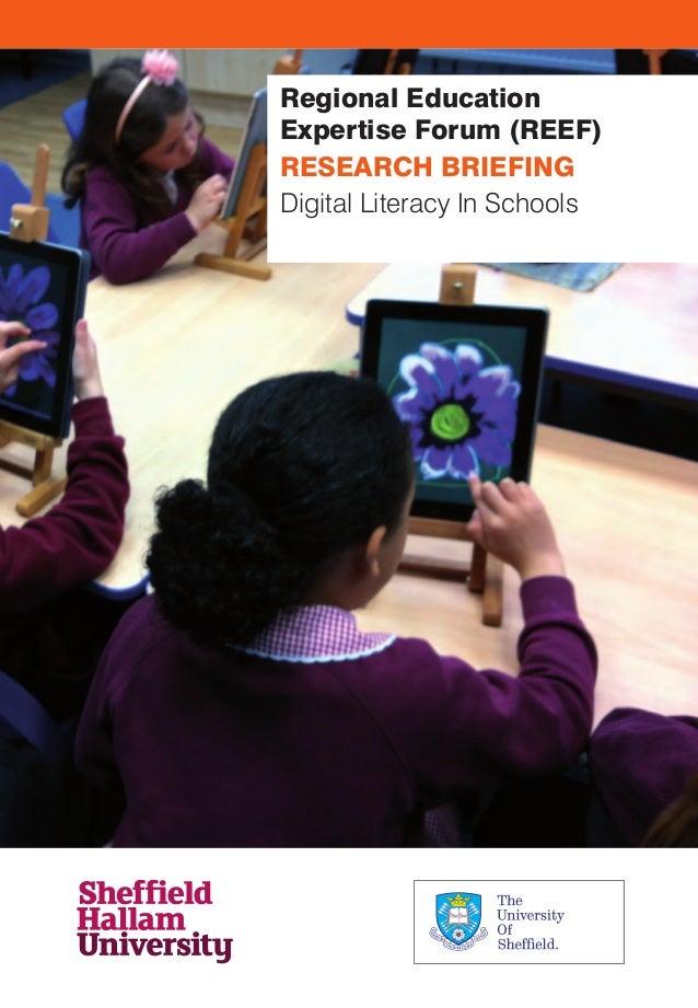 Regional Education Expertise Forum (REEF) RESEARCH BRIEFING Digital Literacy In Schools