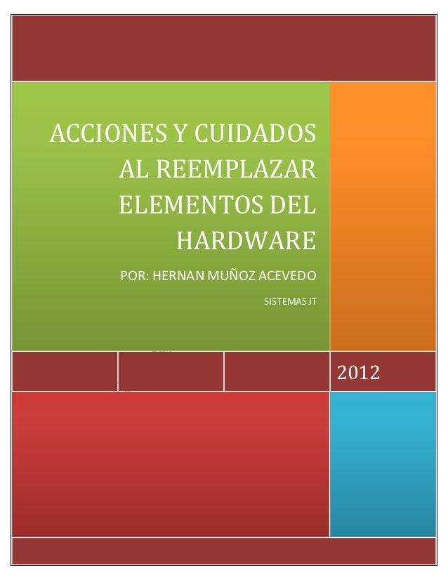 ACCIONES Y CUIDADOS     AL REEMPLAZAR     ELEMENTOS DEL         HARDWARE     POR: HERNAN MUÑOZ ACEVEDO                    ...