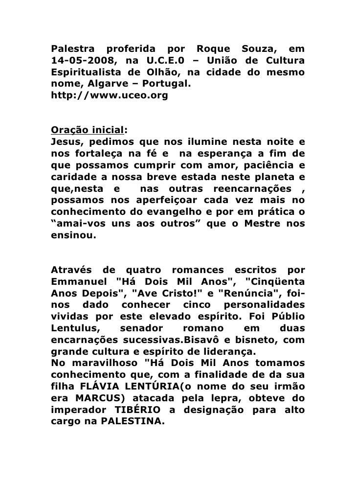 REENCARNAÇÕES DE EMMANUEL, O MENSAGEIRO DA LUZ