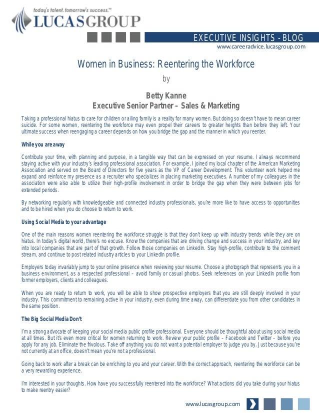 Women in Business: Reentering the Workforce