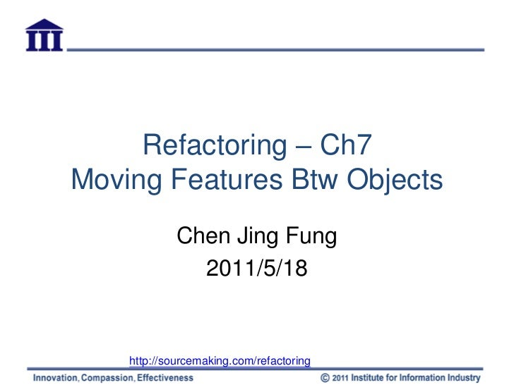 Refactoring-ch7 moving feature btw objects