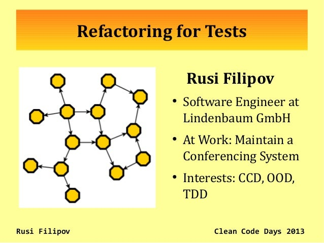 Refactoring for Tests Rusi Filipov ● Software Engineer at Lindenbaum GmbH ● At Work: Maintain a Conferencing System ● Inte...