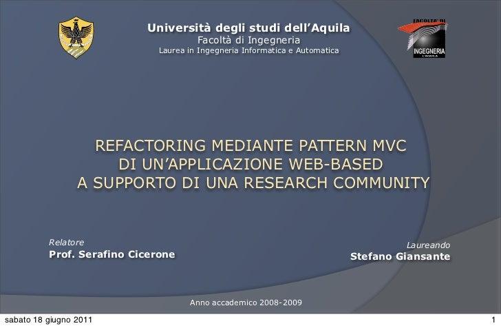 Refactoring mediante pattern mvc di un'applicazione web-based a supporto di una research community