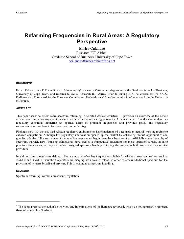 Calandro                                                           Refarming Frequencies in Rural Areas: A Regulatory Pers...