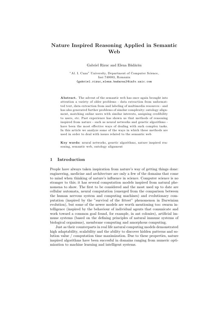 Nature Inspired Reasoning Applied in Semantic                     Web                          Gabriel Rizuc and Elena B˘d...