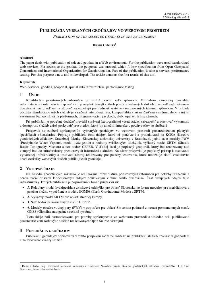 Publikácia vybraných geoúdajov vo webovom prostredí