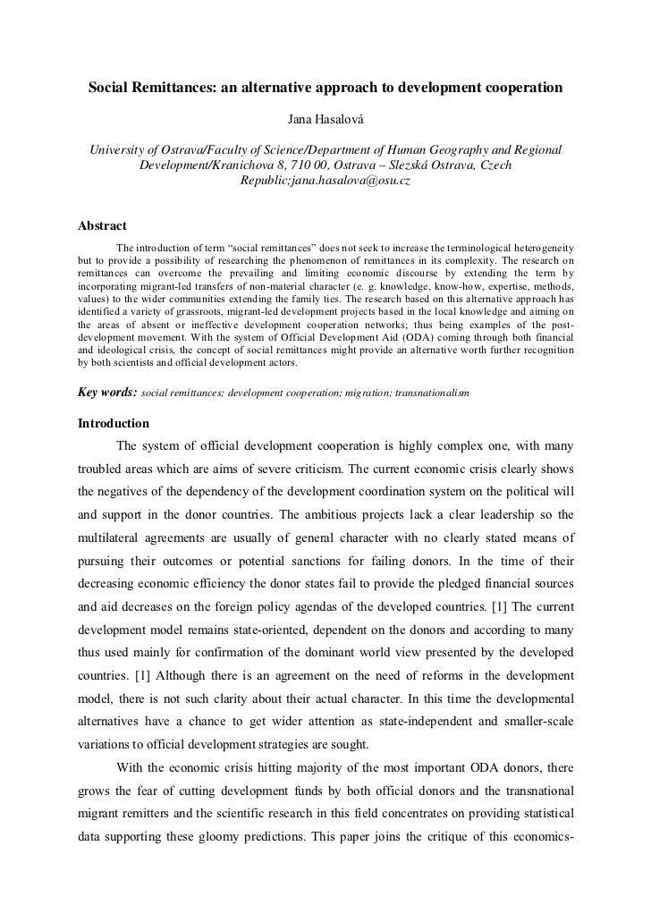 Social Remittances: an alternative approach to development cooperation                                               Jana ...