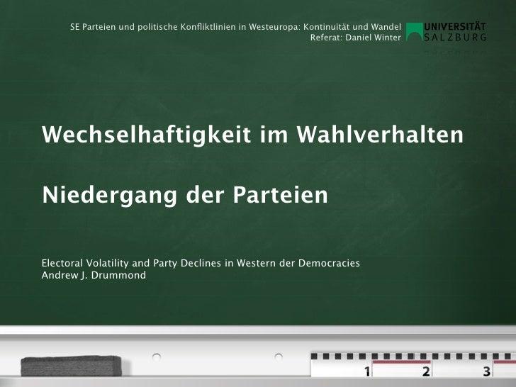 SE Parteien und politische Konfliktlinien in Westeuropa: Kontinuität und Wandel                                            ...