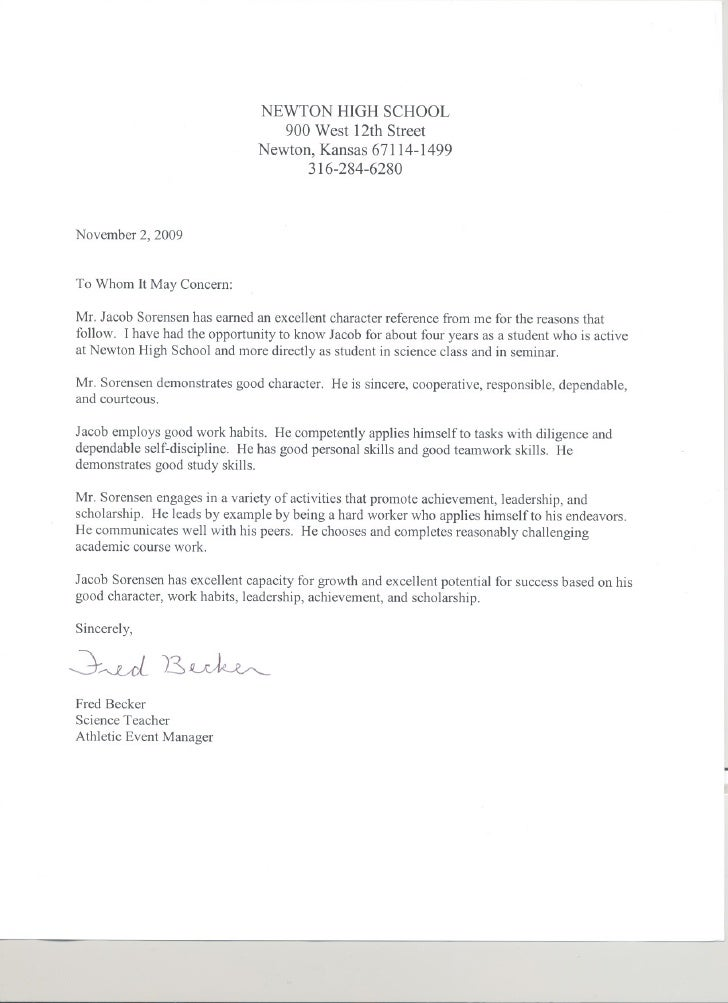 Reference letter template for student scholarship – Sample Character Reference Letter Student
