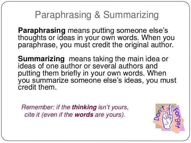 Paraphrasing citation mla