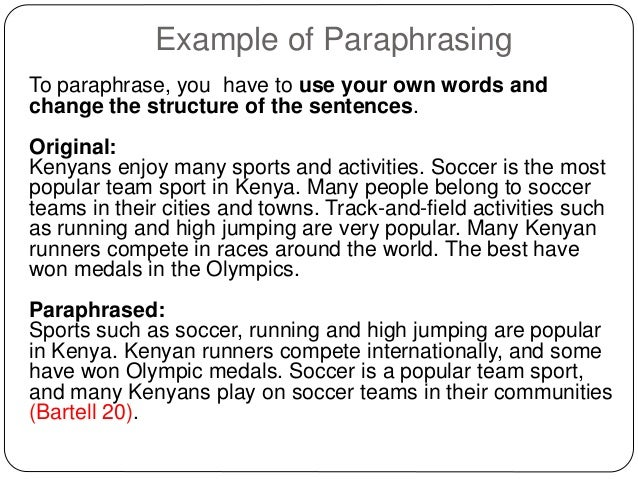 Paraphrasing words list