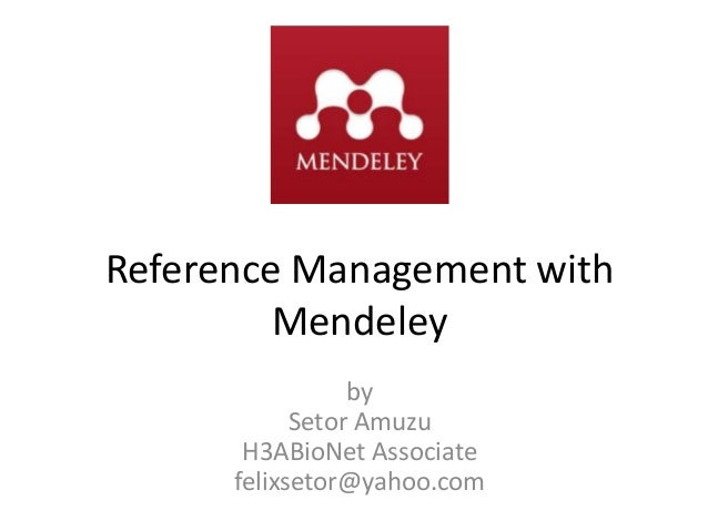 Reference management with mendeley