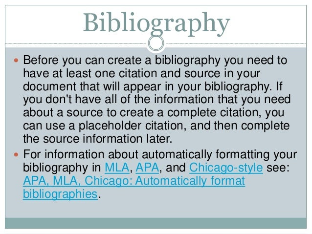 Bibliography citations