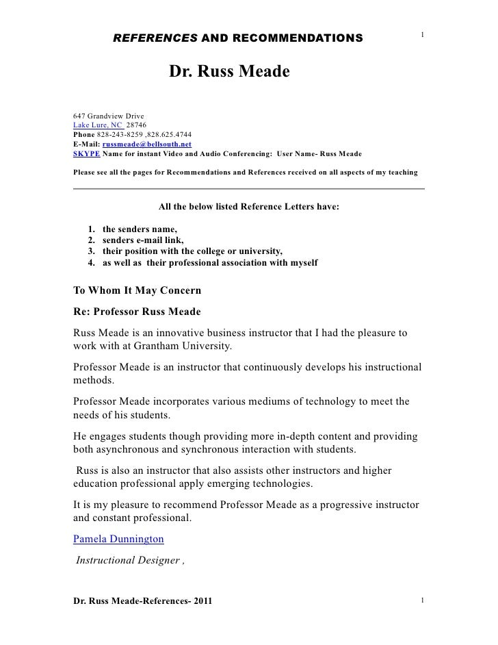 REFERENCES AND RECOMMENDATIONS                                                            1                           Dr. ...